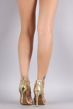 Bamboo Metallic Rhinestone Strappy Stiletto Heel