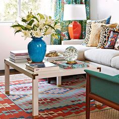 Use brass corners and flat brackets to dress up a plain coffee table. Look for them in the hardware aisle./