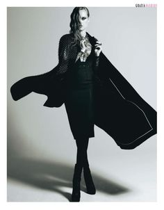 Black cape look. Great office attire.