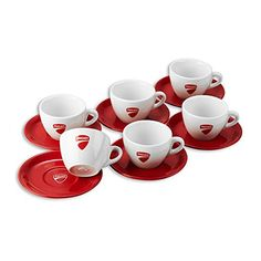 Ducati Company Italian Cappuccino Coffee Cups with Saucers Set of 6 * Click on the image for additional details.