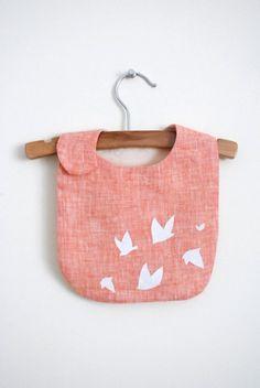 white birds bib / orange linen by yorikoNewYork on Etsy, $22.00