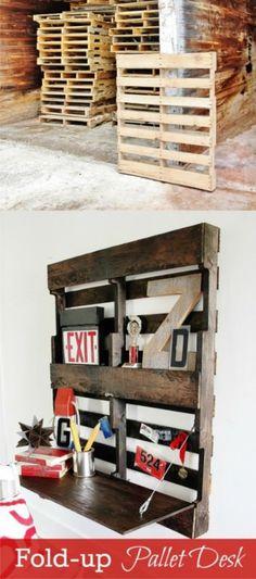 DIY: Fold-Up Pallet Desk                                                                                                                                                      More