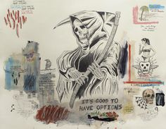 "Wes Lang, ""How To Get Up When You're Down"" 2011 mixed media on paper 38x50 inches"
