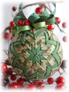 Red and Green Holly Christmas Ornament