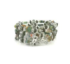 Silver Dove Bracelet - Millefiori Hearts Bracelet - Flower Millefiori Bracelet - Silver Wrap Bracelet - Love Dove Bracelet - Wrap Bracelet - pinned by pin4etsy.com
