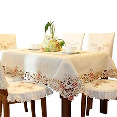 Pink Flower Embroidered Hemstitch Cream Spring Round Tablecloths 68 Inch  Approx ** Find Out More