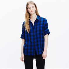 Madewell Courier Shirt in buffalo check Beautiful, vibrant shirt. easy to wear. boxy, oversized fit. mint condition. never worn, have been on a hanger in my closet. tts. pls know your designer size. Madewell Tops Button Down Shirts