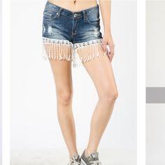 SOLD Distressed denim shorts w/ fringes on bottom Distressed shorts with fringe bottom Shorts