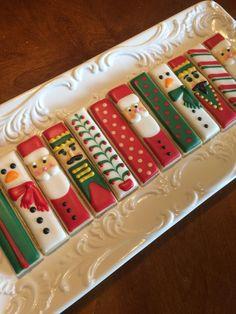 Christmas cookies, Santa, nutcracker, snowman, dipping sticks by heidijo
