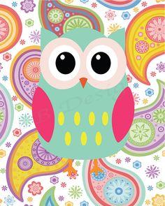 Aqua and Pink Girl's Owl Nursery Print Girl's por LJBrodock en Etsy