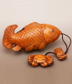 "Inro Set Boxwood Carving Fish and Crabs 5 1/2"" long  #EEIN02    Charming hand-carved boxwood inro set with netsuke and ojime beads, inspired by antique Japanese inro."