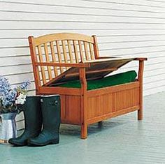 The bench is great for outside to store shoes, blankets or other outdoor items. This storage bench is made from sustainably harvested wood that has been certified by The Forest Stewardship Council (FSC).  Product in photo is from www.wellappointedhouse.com