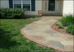Concrete Walkway Stained To Resemble Flagstone