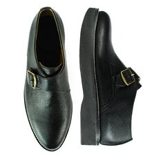 GINSBERG Black Pebbled Leather Single Monk