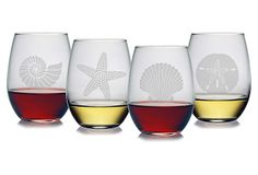 S/4 Asst. Seashore Stemless Wineglasses on OneKingsLane.com