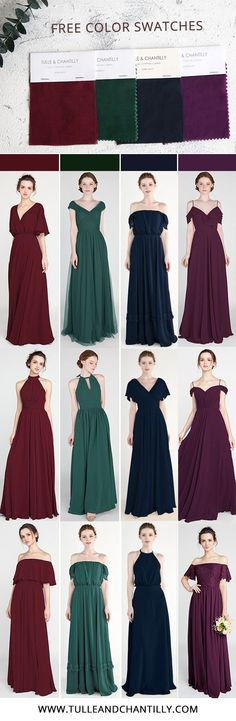 Tulle and Chantilly Bridesmaid Dress Swatch Kits Bridesmaid Dress Colors, Bridesmaids, Bride Dresses, Formal Dresses, Wedding Dresses, Maid Of Honor, Color Trends, Wedding Colors, Swatch