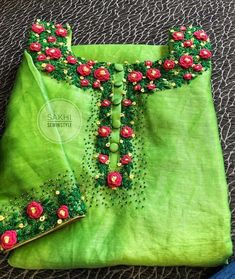 How to make bullion rose for kurti neck - Crazzy Crafts Hand Embroidery Dress, Embroidery On Kurtis, Kurti Embroidery Design, Hand Embroidery Videos, Embroidery On Clothes, Embroidery Flowers Pattern, Flower Embroidery Designs, Hand Embroidery Stitches, Embroidery Fashion