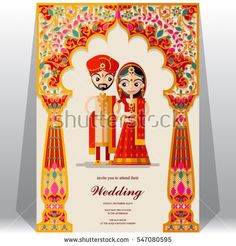indian wedding card design vector unique indian wedding invitation card stock vector royalty free of indian wedding card design vector Hindu Wedding Cards, Indian Wedding Invitation Cards, Garden Wedding Invitations, Creative Wedding Invitations, Wedding Stationery, Wedding Art, Trendy Wedding, Wedding Drawing, Hindu Weddings