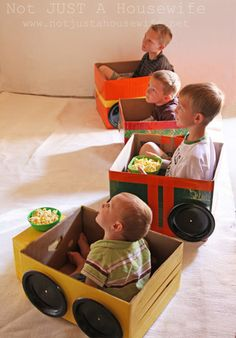 Cardboard Box Love Drive in Movie - SO doing this for my I, O, & V as they LOVE to play in diaper boxes anyway!