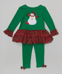 Green & Red Snowman Tunic & Leggings - Kids