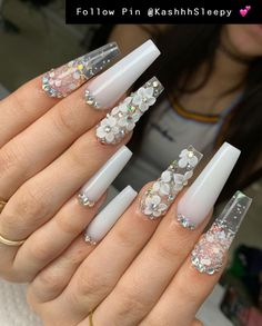 Nail Art Stickers That Don& Look Cheap - Nail art stickers are widely available in the market. For you who look for inspiration to decorate your elegant nails, here are some nail stickers to inspire you. White Acrylic Nails, Summer Acrylic Nails, Best Acrylic Nails, Acrylic Nail Designs, White Nails, White Coffin Nails, Red Nail, Pastel Nails, Summer Nails