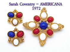 Vintage Sarah Coventry Brooch and Earrings AMERICANA Demi Parure From 1972