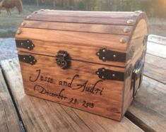 Engraved Wooden Card and Memory Chest - Rustic Wedding Card Chest - Personalized Gift - Rustic Wedding Decor - Wedding Card Holder - Personalized Card Box - Wedding Wedding Cards Keepsake, Wooden Card Box Wedding, Wedding Advice Box, Wedding Ideas, Wedding Planning, Wedding Stuff, Wedding Inspiration, Wedding Games, Wedding Pins