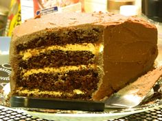 chocolate cake with peanut butter filling - great for a half birthday cake!
