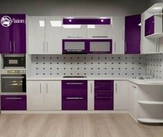 Fabulous Modern Kitchen Sets on Simplicity Efficiency and Elegance Purple Kitchen Cabinets Moduler Kitchen, Kitchen Cabinet Interior, Kitchen Cupboard Designs, Kitchen Modular, Kitchen Room Design, Modern Kitchen Cabinets, Modern Kitchen Design, Interior Design Kitchen, Kitchen Ideas