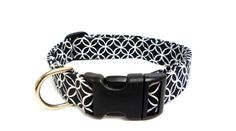 Black and White Geometric Adjustable Dog Collar by MuttsandMittens