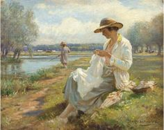 """""""Sewing by the River"""" by William Kay Blacklock (English, 1872-1922)"""