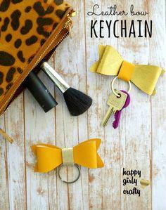 Faux leather bow keychain DIY!