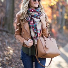 Perfect fall outfit - cropped camel leather jacket, skinny jeans and plaid blanket scarf