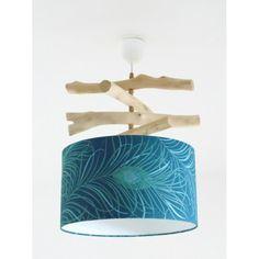 Lustre bois flotté plumes de paon - abat jour cylindre 35 cm - suspension cylindrique - plafonnier rond - idée cadeau - peacock - lampshade | JourDePluieCreations