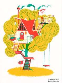 Ideas For Tree House Illustration Children Books Art And Illustration, Illustration Children, Animal Illustrations, Arte Popular, Easy Drawings, Illustrators, Screen Printing, Concept Art, Images