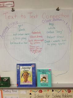 We did a Text to Text Connection lesson with Amazing Grace and Oliver Button is a Sissy.  Great discussions led to this Venn Diagram. http://the-teacher-next-door.blogspot.com/