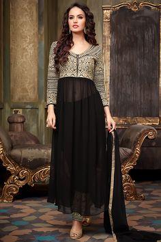 Black Anarkali Suit with Golden Embellished Bodice