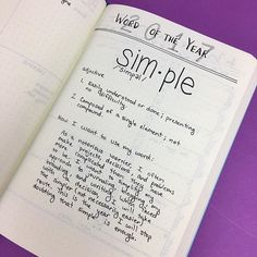 I just realized I haven't shared my Word of the Year with you guys! In the interest of getting more done this year, I'm trying to keep things simple!⠀ ⠀ #simplelife #wordoftheyear #bulletjournal #bujo #bujojunkies #journaling #productivity