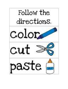 Here's a simple set of visual direction cards for use with primary and ESL students. Cut And Paste, Interactive Notebooks, Cut And Color, Literacy, Chart, Writing, Reading, Students, Simple