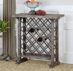 Weathered wine rack Annileise Wine Table by Uttermost. Kemptville Interiors 613-258-9333