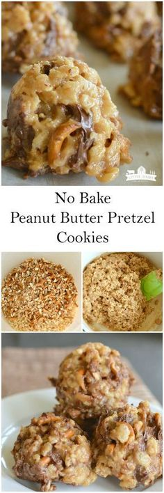 No Bake Peanut Butter Pretzel Cookies. Fast and easy and oh so yummy! No Bake Peanut Butter Pretzel Cookies. Fast and easy and oh so yummy! Pretzel Cookie Recipe, Pretzel Cookies, Easy Cookie Recipes, Yummy Cookies, Sweet Recipes, Dessert Recipes, Baking Cookies, Pretzel Desserts, Easy No Bake Cookies