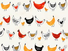 Chickens & Chicks | Bird illustration by Margaret Berg