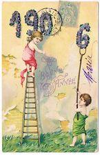 Ak 1906 LITHO  PRÄGE KARTE NEUJAHR JAHRESZAHL KARTE KINDER  a. Sammlung