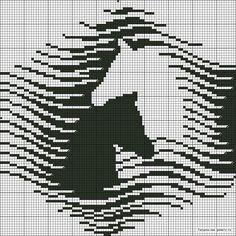Filet crochet wow Would make a gorgeous double knit - too large for scarf, maybe afghan ; Cross Stitch Horse, Cross Stitch Animals, Cross Stitch Charts, Cross Stitch Designs, Cross Stitch Patterns, Filet Crochet, Crochet Chart, Crochet Afghans, Knitting Charts