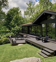 74 What Are Some Modern House Exterior Design Ideas 16 - dougryanhomes Back Porch Designs, Backyard Renovations, A Frame House, Dream House Exterior, Cottage Design, Cottage Homes, Modern House Design, Modern Glass House, Exterior Design
