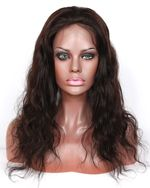 """In Stock Indian Remy Hair 18"""" Body Wave Natural Color Silk Top Wig STW-074"""