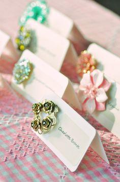 DIY Vintage Brooch Escort Cards   Intimate Weddings - Small Wedding Blog - DIY Wedding Ideas for Small and Intimate Weddings - Real Small Weddings