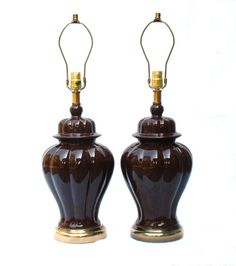 pair vintage brown ceramic ginger jar table lamps. these are tempting me. not sure if too much brown in the room though.