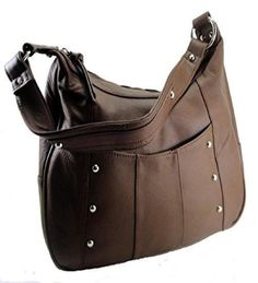 Leather Concealed Carry Gun Purse Left/Right Hand W/ Locking Zipper Brown #RomaLeathers #Hobo