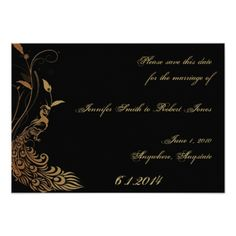 Peacock Wedding Save the Date Cards Bronze Art Deco Peacock and Floral Save the Date Card